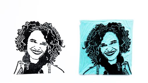 portretstempel met gezicht van Maruga