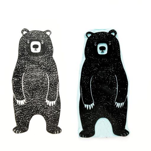 stempel en stempelafdruk van een beer